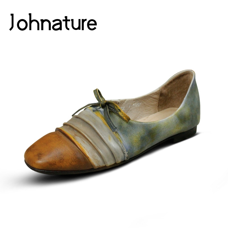Johnature 2019 New Spring summer Handmade Genuine Leather Round Toe Retro Casual Pleated Slip on Low