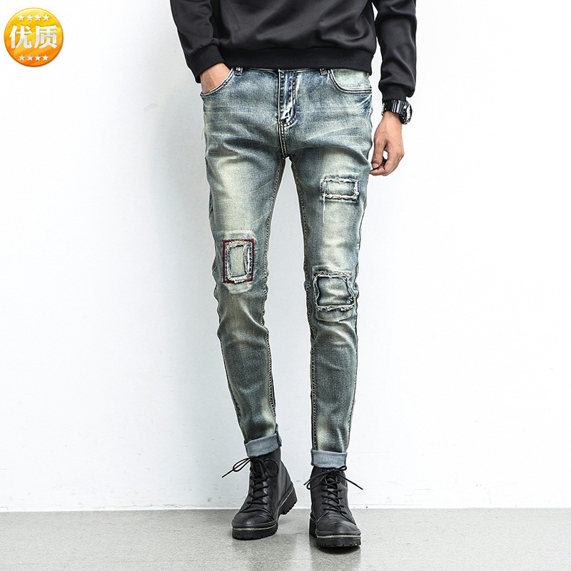 Paragraph 2018 thick tide male hole do old beggar jeans foot patch cultivate ones morality stretch pants