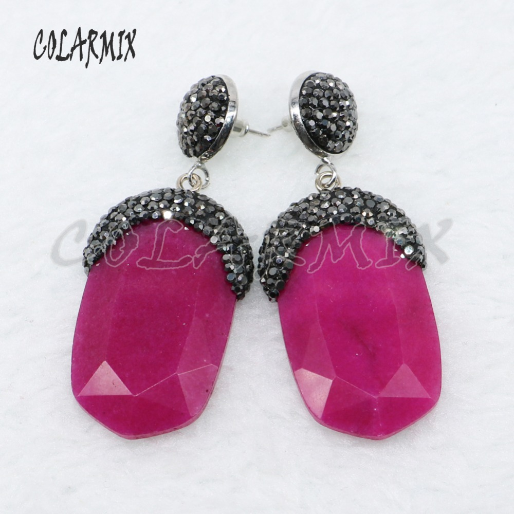 Wholesale Fashion Faceted stone Pave rhinestone earrings Rectangle stone  earrings Gift for lady Natural stone earrings 67f349bdd58b