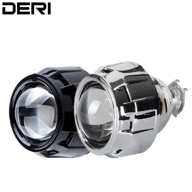 2 5 inch Mini Projector Lens H1 Led Bulb HID Bi Xenon Headlight Light with  Black Silver Shell H4 H7 Headlamp Adapter Car Styling