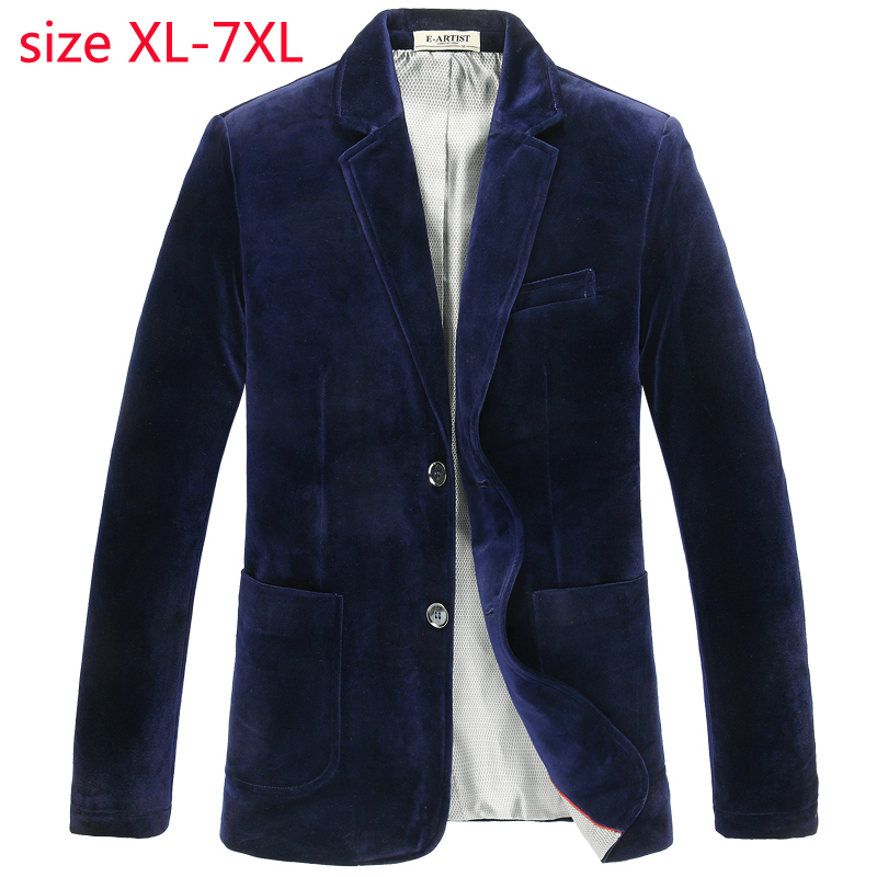 New Spring Golden Velvet Super Large Suit Men Fashion Jacket Single Breasted Casual Blazer Men High Quality Plus Size S 6XL 7XL-in Blazers from Men's Clothing    1