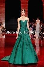 Elegante Dunkelgrüne Schatz Applique Pailletten Abendkleid Formale Promi Lange Ballkleider Frauen 2014 Neue Mode N637