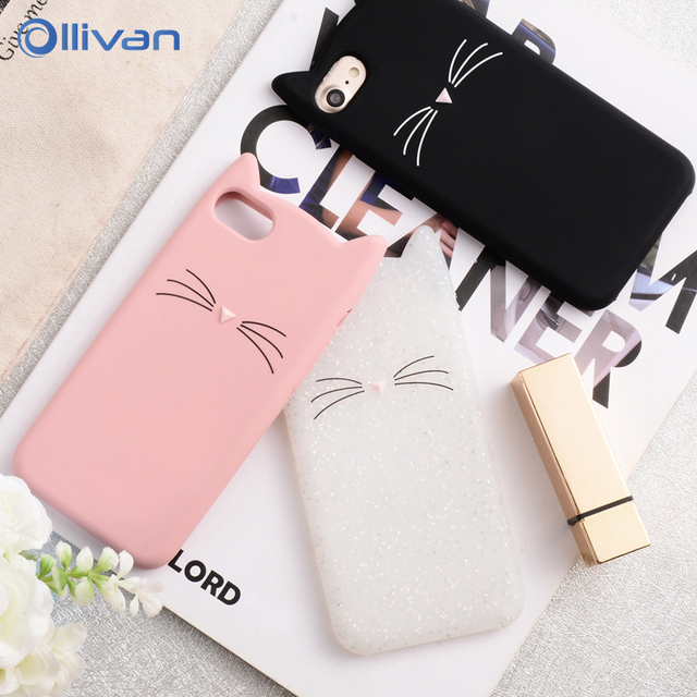 For iPhone 6 6S 7 8 Plus Case 3D Cute Cartoon Leopard Print Cat Ear Silicone Case For iPhone X Xs Max Xr 5S SE 8Plus Cover Coque
