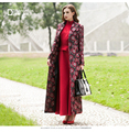 S-3XL Старинные Вышивки Длинный Плащ Для Женщин Длинные Рукава Весна Осень Макси Плюс Размер Пальто Высокого Quliaty Манто Femme