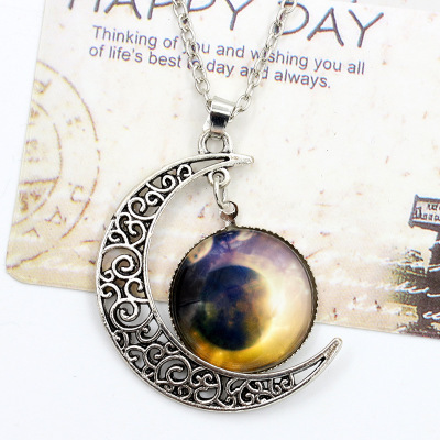 Punk Moon Crystal Necklace Gothic Retro Slide Pendant Necklace Women Jewel Metal Pendant Necklace Halloween Costume Accessories