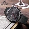Genuine MEGIR 2011 Watches Men Simple Stylish Top Luxury Brand Stainless Steel Mesh Strap Band Quartz