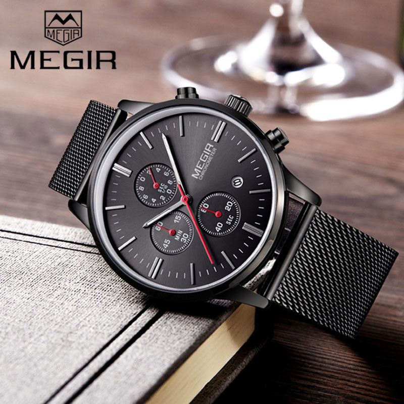 Genuine MEGIR 2011 Watches men simple stylish Top Luxury brand Stainless Steel Mesh strap band Quartz-watch thin Dial Clock man harizma щётка массажная средняя овальная голубая оранжевая