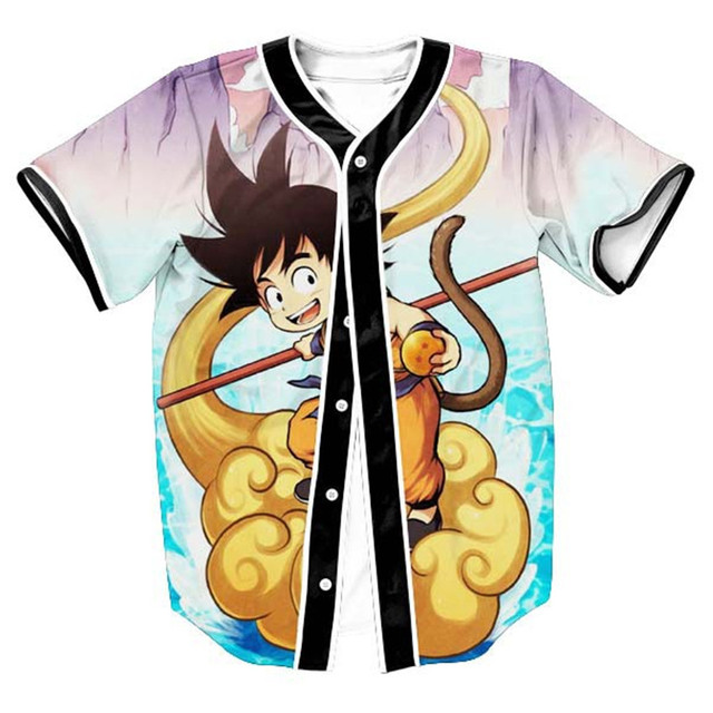 2724a3bc8 Hot Sale 3D Print Cartoon Dragon Ball Z Goku Baseball Jersey T Shirt Summer  Fashion Short Sleeve Button Cardigan Tops Clothing