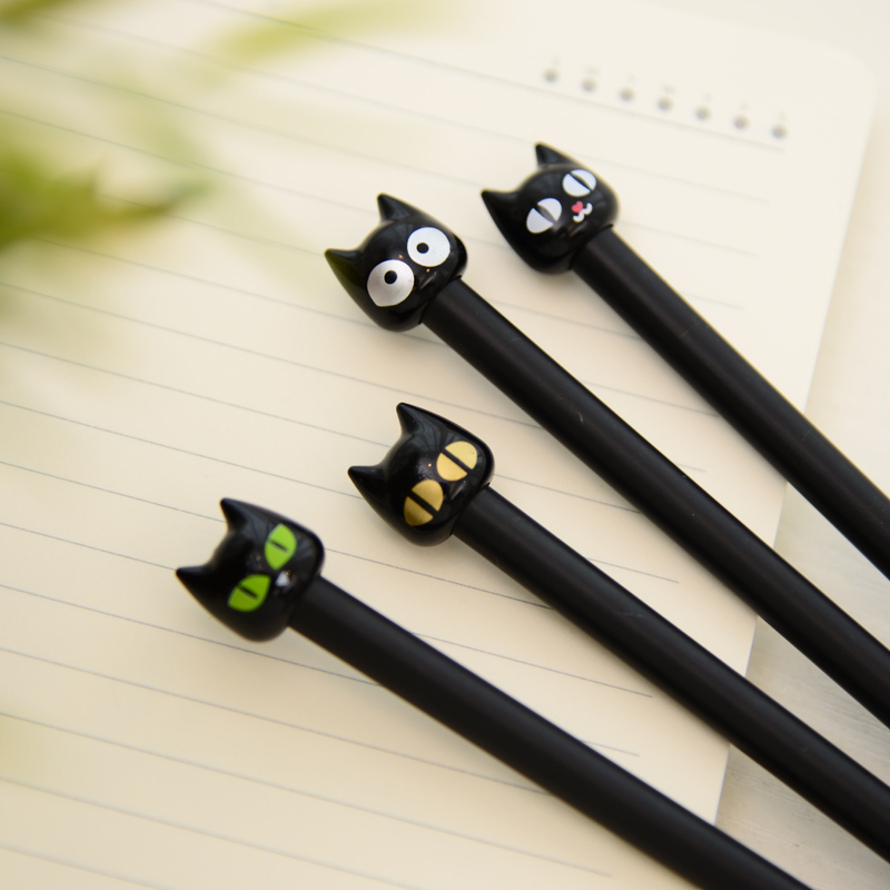 4X Cute Kawaii Black Cat Gel Pen Writing Stationery School Office Supply 0.5mm