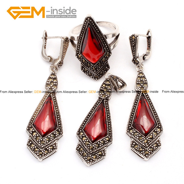 Fashion Beads Jewelry Set Rhombus Antiqued Tibetan Silver Ring Earrings Pendant 2015 New Arrival Party Jewelry Wholesale