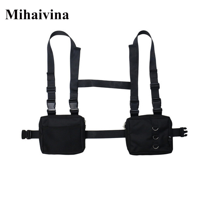 Mihaivina Unisex Oxford Two Pockets Women Waist Fanny Pack Men Tactical Functional Hip-Hop Streetwear Bag Harness Chest Rig Bag