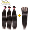 7A Malaysian Straight Hair With Closure 4x4 Hair Bundles With Lace Closures Bleached Knots Malaysian Virgin Hair With Closure