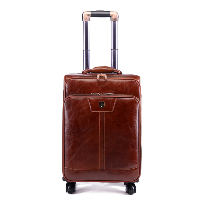 Letrend Luxury Man Rolling Luggage Spinner 16 inch Business Cabin Trolley PU Leather Trunk Women Suitcases Wheels Travel Bag