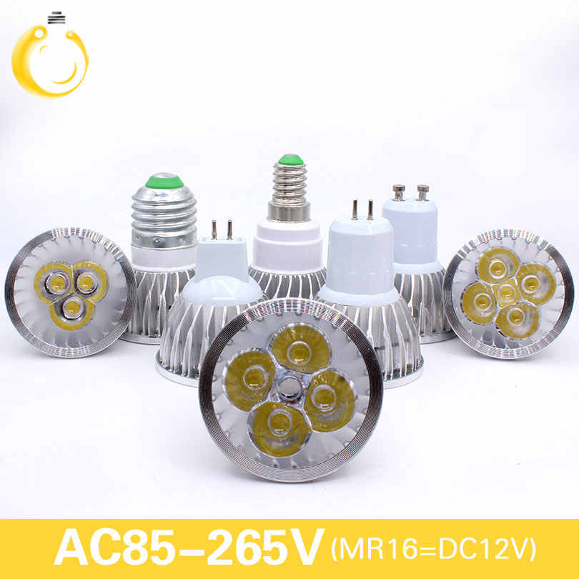 E27 e14 led light Dimmable MR16 DC12V LED 9w 12W 15w GU10 LED Bulbs Spotlight High Power gu 10 led Lamp White LED SPOT Light