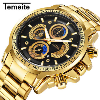 Temeite New Arrival Gold Watch Men Sport Style Stainless Steel Wristwatches Waterproof Golden Quartz-watch Brand Reloj Hombre