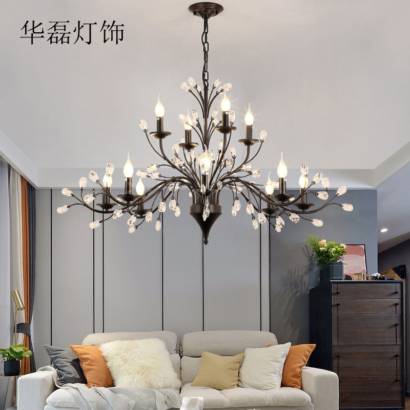 America Village Iron Art Crystal Chandelier French Antique Candelabra 6 Heads Modern Flush Mounted Lamps for Home Bar Lighting square corners hanging antique copper 2 candelabra sockets clear glass