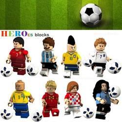 Чемпионат мира футбольная команда игрок Роналду Лионель Месси, Неймар Бекхэм строительные блоки рисунок Кирпичи игрушки Дети совместимый