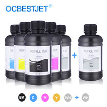 6X250 Ml LED UV Botol Tinta untuk Epson L800 L805 L1800 R290 1390 1400 1410 4800 7800 4880 DX5 DX7 UV Tinta Printer (BK C M Y WH WH)(China)