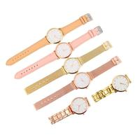 6PCS Ladies Combination Mesh Steel Strip Leather Belt Watch Simple Style Watch gift for women wristwatch pink elegant round dial
