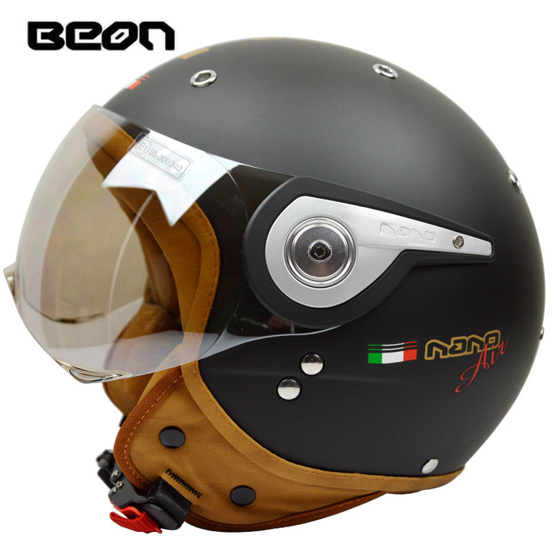 Chegada nova marca beon capacete da motocicleta retro scooter abrir rosto capacete do vintage 3/4 casque motociclistas capacete B-110A cascos