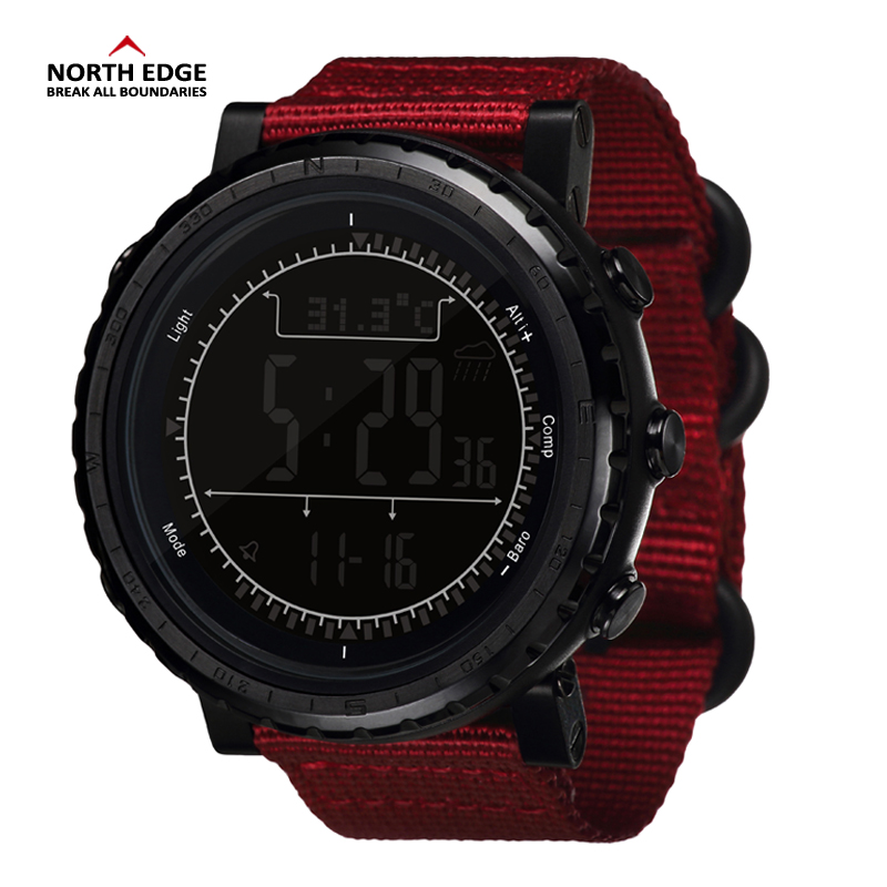NORTH EDGE Men Sports Watch Altimeter Barometer Compass Thermometer Pedometer Watches Digital Running Climbing Wristwatch outdoor sports watches men skmei brand countdown led men s digital watch altimeter pressure compass thermometer reloj hombre