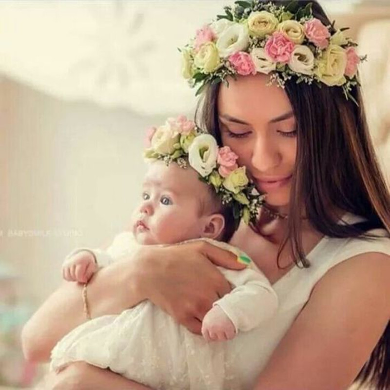 Mom And Me Matching Flower Headband 2018 Lovely Newborn Headband Flower Crown Wreath Mother Kids Garland Hair Band Accessories