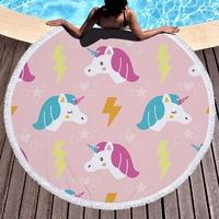 Urijk 2018 Summer Round Beach Towel With Tassels Towels Picnic Blanket Beach Cover Toalla Microfibra Hot
