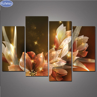 4pcs 5d Diy Diamond Painting Full Square Cross Stitch Pictures 5pcs Diamond Painting Sunset Flowers Mosaic