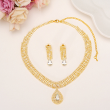 Fashion full Crystal Wedding Bridal Jewelry Sets gold Color Rhinestone Wedding Jewelry Necklace Sets for Women girls party gift