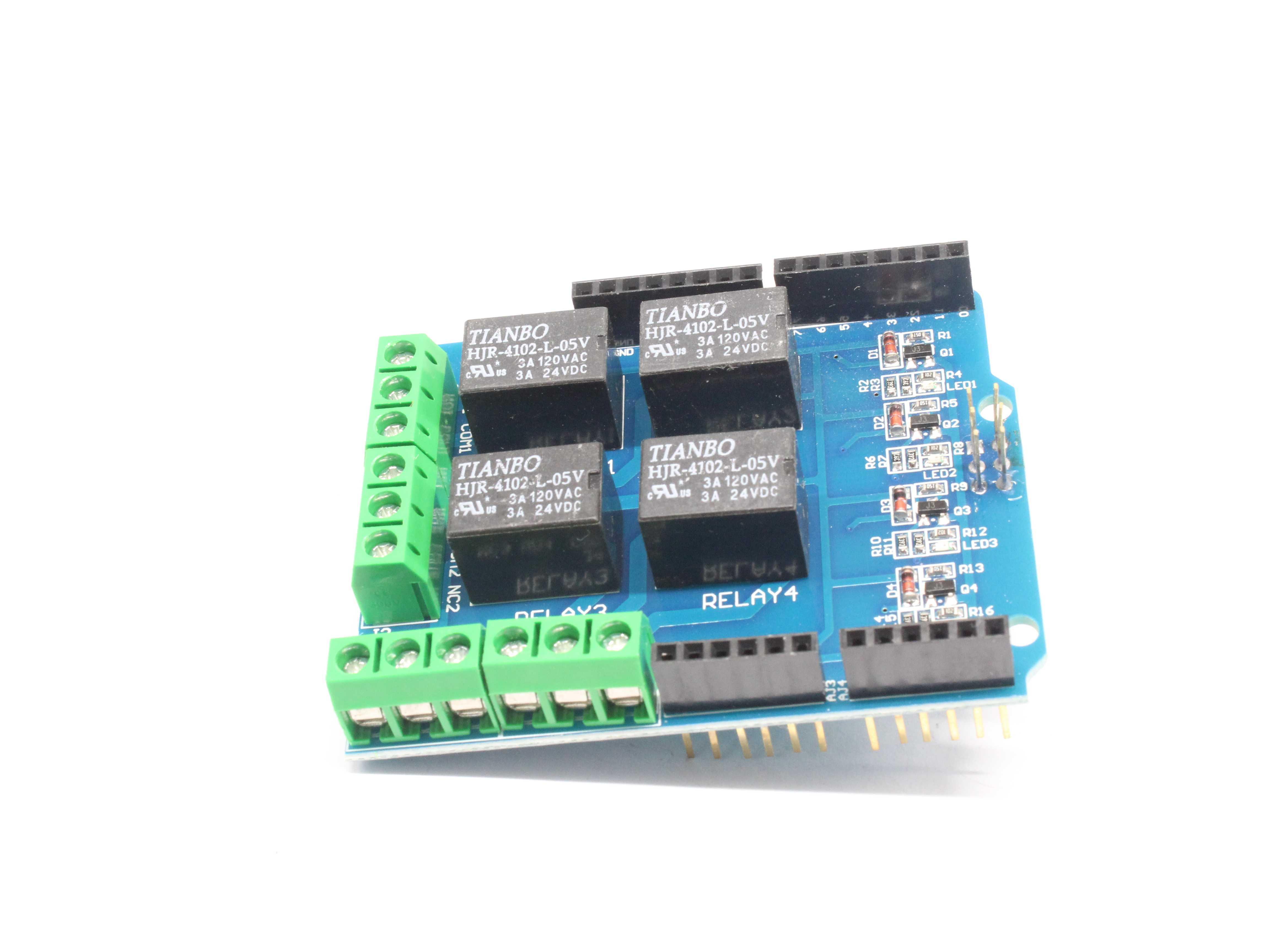 Module de bouclier de relais de 4 canaux 5 v, carte d'extension de relais de carte de contrôle de relais de quatre canaux pour arduino UNO R3 mega 2560