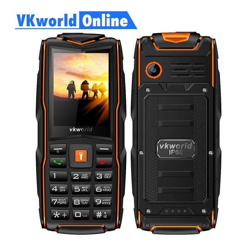 VKworld Nova Pedra V3 Telefone Celular À Prova D' Água IP68 2.4 polegada FM rádio Cartão de 3 SIM Lanterna Led GSM telefones celulares de Teclado Russo