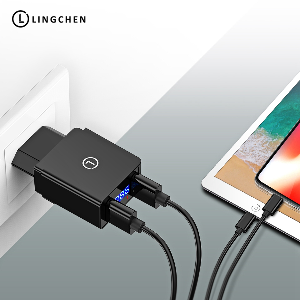 LINGCHEN LED Display USB for iPhone charger Mobiles
