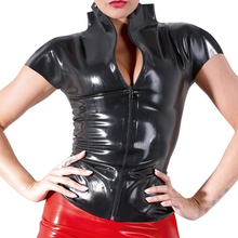 Wetlook Womens Sexy Faux Leather Pole Dancing Uniform Nightclub Black Shiny Patent PVC Latex Top with Zipper DS