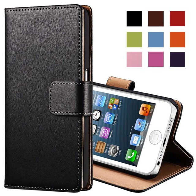 Genuine Leather Case for iPhone 5 5S SE Flip Wallet TOMKAS Stand Design with Card Slot Phone Case For iPhone 5S Cases Coque