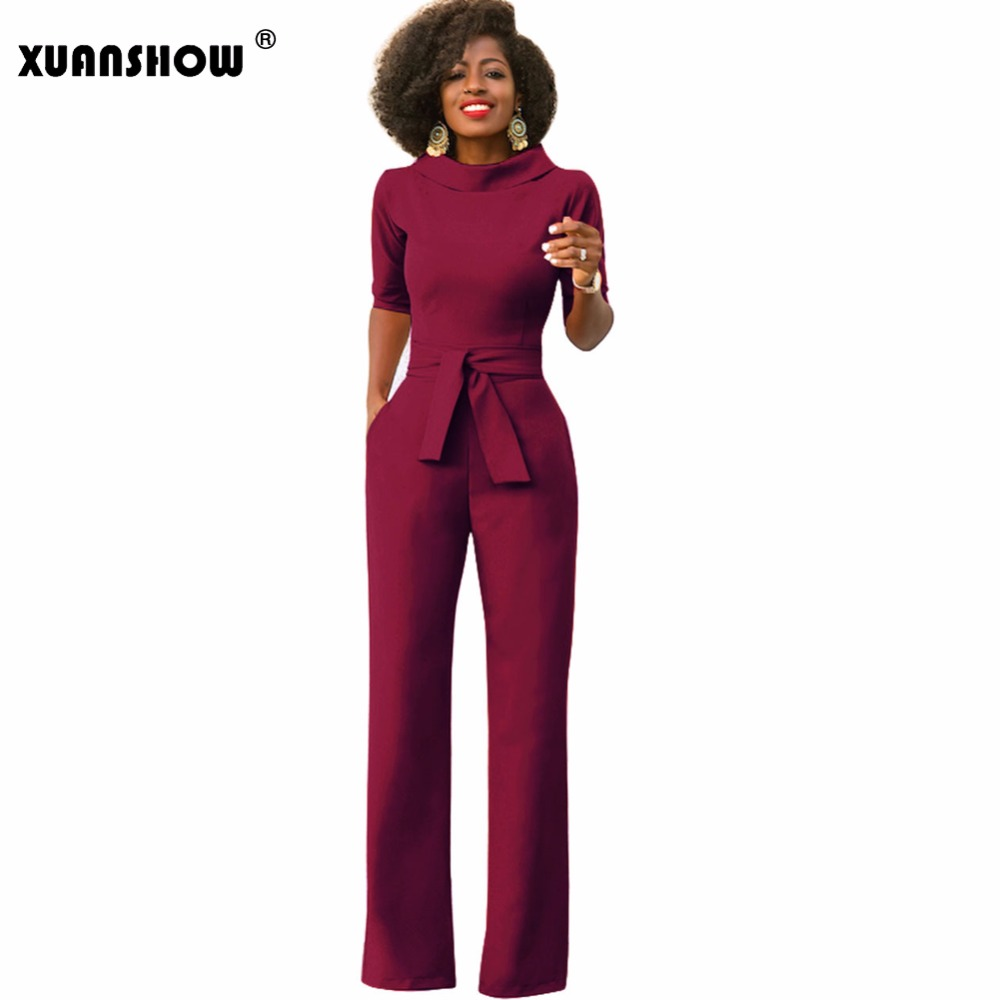 XUANSHOW Jumpsuits for Women 2018 Sexy Solid Color Half Sleeve Wide Leg Pants Body Feminino Plus Size