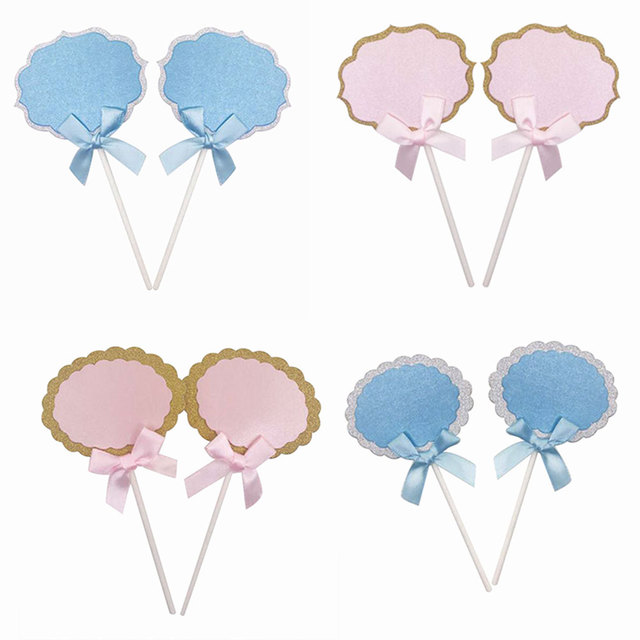 6pcs Lot Blank Dialog Box Cupcake Topper With Bow Wedding Birthday Party Decorations Cake Decor Picks Paper Supplies