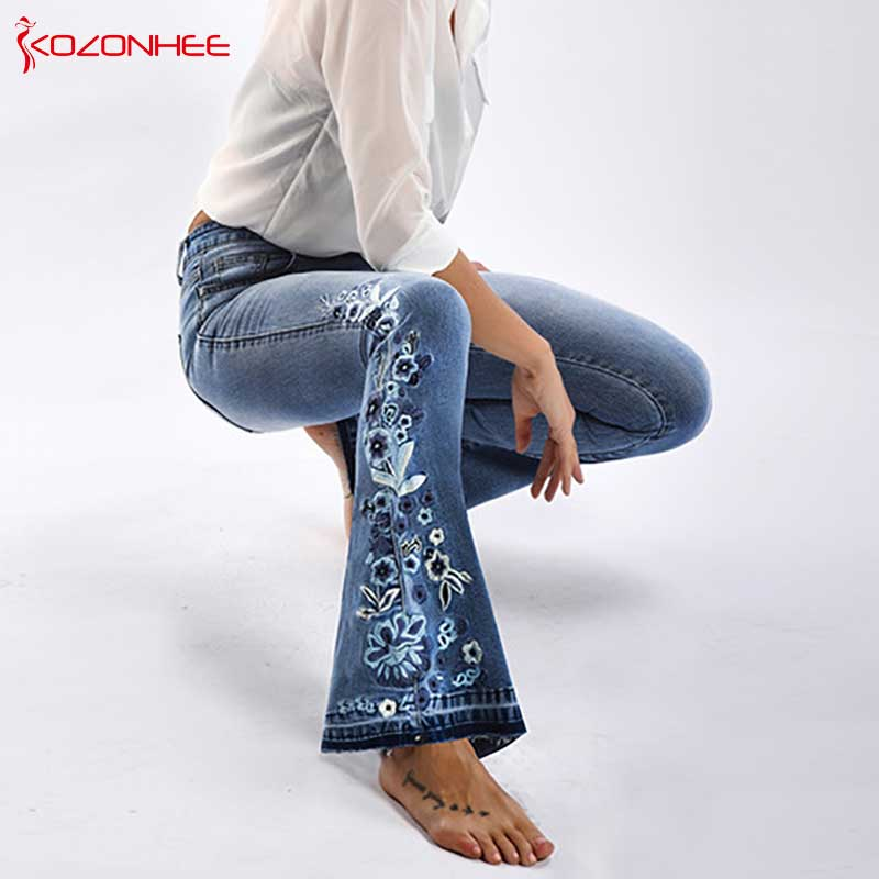 Embroidery Stretching Flare Jeans Women Elasticity Bell-Bottoms Jeans For Girls Light Blue Trousers Women Jeans Large Size #72