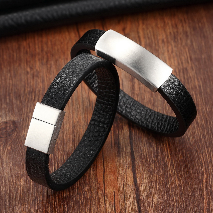 2017 New Top Stainless Steel Genuine Leather Bracelets For Women Men Vintage Bracelets & Bangles Pulseiras Masculina Men Jewelry