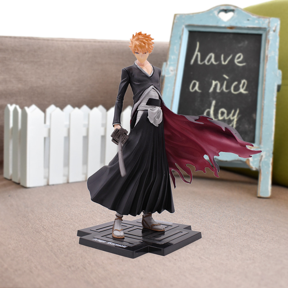 20cm 8'' Anime Bleach Anime Kurosaki Ichigo PVC Action Figures Toy Nendoroid Collection Model Toy Figurines Birthday Xmas Gift cool 20cm bleach anime kurosaki ichigo getsuga tenshou pvc action figure collection model toy