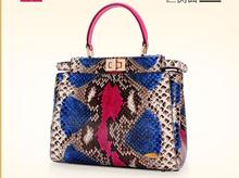 100% Genuine Python Snake Skin Bag Lady women Designer Handbag, Colorful Snake Leather Women Shoulder Bag