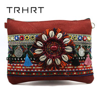Rot frauen Handtasche Clutch Bag Kunstleder Shell Handgemachte Blume Gypsy Bohemian Tribal Stil Umhängetasche