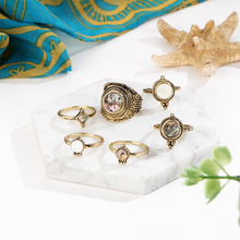 Meyfflin 6 Pcs 2018 New Rings for Women Vintage Stone Droplets Knuckles Rings Set Jewelry Boho Bronze AnillosParty Bague Femne