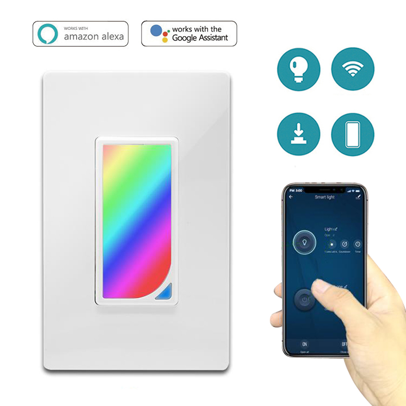 US Wifi Smart Home Light Switch LED RGB Scene Light 1200 Colors Light Switch Compatible with Smart Life Tuya Google Home Alexa(China)