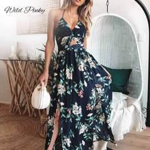 WildPinky New Dress Women Summer V Neck Vintage Boho Long Maxi Floral Print Party Beach Straps Sundress Vestidos