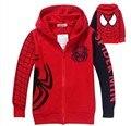 Escudo niños niños Spiderman Bordado Chaquetas Con Capucha Niños de Dibujos Animados Ropa de Bebé Niños prendas de Vestir Exteriores