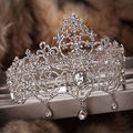rhinestone large Bride wedding hair jewelry hollow crystal big crown pageant tiara wedding hair accessories