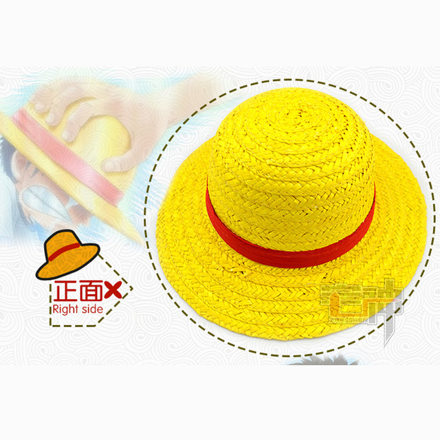 ddf2a40d63e ... One Piece Luffy Anime Cosplay Straw Boater Beach Hat Cap Halloween hat  ...