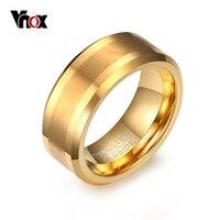 Vnox Mens 8mm Matte Tungsten Carbide Ring 18K Gold Plated Comfort Fit Wedding Bands US Size