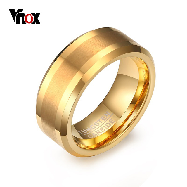 Vnox Real Tungsten Rings For Men Jewelry Gold Color Male Wedding Gift Us Size 7 8
