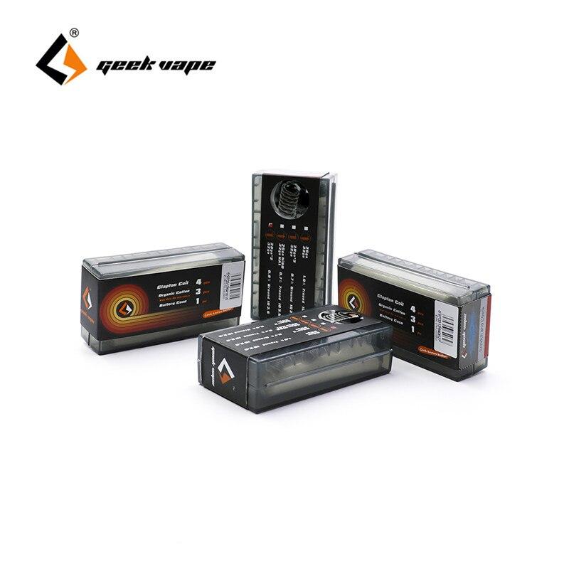 D'origine Geekvape Clapton bobine et coton Biologique et Batterie cas (3 en 1 DIY Kit) haute Qualité fils pour RDA RTA RDTA Atomiseur